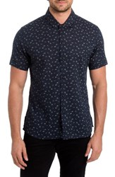 7 Diamonds Men's Hey Brother Linen And Cotton Woven Shirt Navy