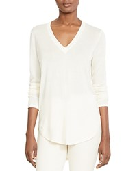 Lauren Ralph Lauren V Neck High Low Sweater Ivory