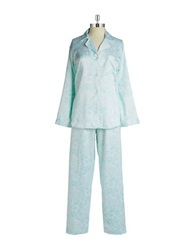 Miss Elaine Paisley Print Two Piece Pajama Set Blue