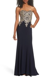 Xscape Evenings 'S Corset Back Embellished Strapless Gown Navy Gold