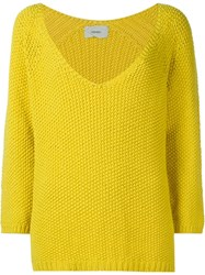 Humanoid 'Wig' V Neck Jumper Yellow And Orange