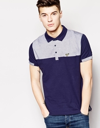 Voi Jeans Polo Shirt With Chambray Panel Navy