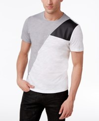 Inc International Concepts Men's Colorblocked T Shirt With Faux Leather Piecing Only At Macy's Grey