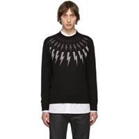 Neil Barrett Black Multi Lightning Bolt Sweater