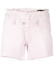 Alyx Distressed Denim Shorts Pink And Purple