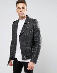 Barney's Barneys Premium Washed Leather Biker Jacket Black