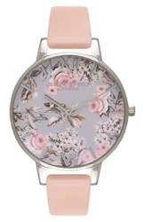 Olivia Burton Women's 'Enchanted Garden' Leather Strap Watch 38Mm