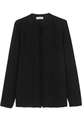 Tory Burch Pintucked Crochet Trimmed Silk Crepe De Chine Shirt Black