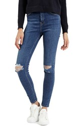 Topshop Moto 'Jamie' Ripped Ankle Jeans Mid Denim Regular And Short