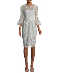 David Meister Embroidered Trumpet Sleeve Cocktail Dress Sky