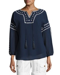 Xcvi Arlene Embroidered Trim Tunic Navy