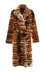 Rosetta Getty Long Wrap Fur Coat Multi