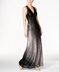 Xscape Evenings Ombre Sequined Racerback Gown Black Taupe