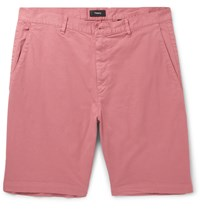 Theory Zaine Slim Fit Stretch Cotton Shorts Pink