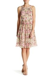 Adrianna Papell Pleated Halter Neck Fit And Flare Dress Regular And Petite Multi