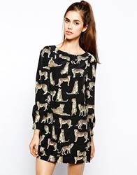 Max C London Max C Shift Dress In Cheetah Print Black