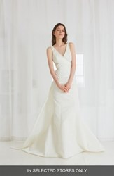 Amsale Women's Cooper Fit And Flare Gown With Detachable Train Ivory