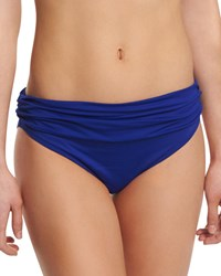 Lablanca Deluxe Island Goddess Reversible Hipster Swim Bikini Bottom Medium Blue