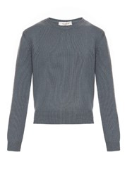 Valentino Crew Neck Cashmere Sweater Blue Grey