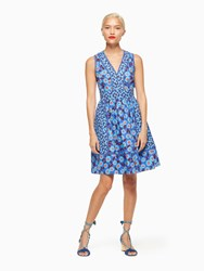 Kate Spade Tangier Floral Fit And Flare Dress Cobalt Blue