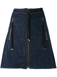 Kenzo Zip A Line Skirt Women Cotton Polyester 34 Blue