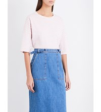 Mih Jeans Striped Cotton Jersey T Shirt White Air Pink