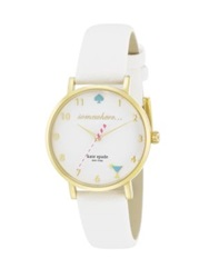 Kate Spade Novelty Metro Happy Hour Enamel Goldtone Stainless Steel And Saffiano Leather Strap Watch Gold White