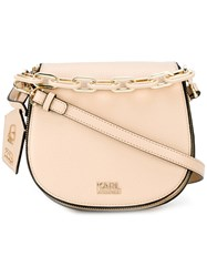 Karl Lagerfeld Logo Plaque Crossbody Bag Women Calf Leather One Size Nude Neutrals
