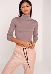 Missguided Basic Roll Neck Long Sleeve Crop Jumper Purple Mauve