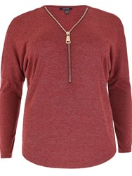 Samya Plus Sized Oversized Zip Front Batwing Top Red