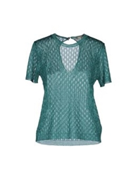 Semi Couture Short Sleeve Sweaters Emerald Green