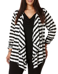 Rafaella Plus Plus Pointelle Striped Cardigan Black White
