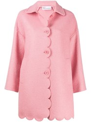 Red Valentino Scalloped Sing Breasted Coat Pink