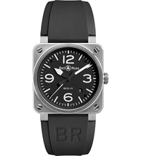 Bell And Ross Br0392blst Stainless Steel And Rubber Strap Black