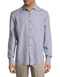 Black Brown Doby Cotton Casual Button Down Shirt Light Grey