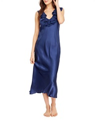 Oscar De La Renta Ruffled Long Nightgown Navy