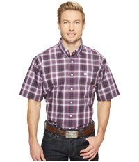 Cinch Short Sleeve Plain Weave Plaid Purple Men's Clothing