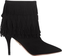 Aquazzura Fringe Trim Sasha Booties Black