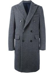 Massimo Piombo Mp Striped Double Breasted Coat Grey