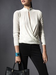 Shanghai Tang Cashmere Long Sleeve Stand Collar Wrap Sweater White