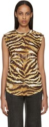 Balmain Gold And Brown Zebra Logo T Shirt