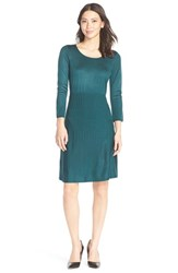 Women's Marc New York Ribbed Fit And Flare Sweater Dress Pine