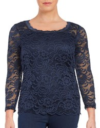 Junarose Vanna Three Quarter Sleeve Lace Blouse Blue
