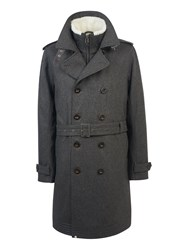 Pretty Green Men's Wool Astley Trench Grey