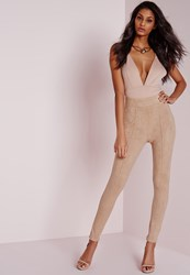 Missguided Faux Suede High Waisted Skinny Trousers Nude Grey
