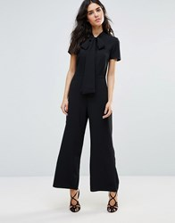 Oh My Love Wide Leg Jumpsuit With Neck Tie Black