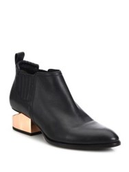 Alexander Wang Kori Metal Tilt Heel Leather Booties Black