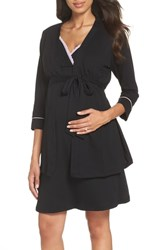 Belabumbum Maternity Nursing Robe And Chemise Black
