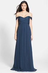 Women's Amsale Crinkled Silk Chiffon Gown French Blue