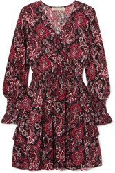 Michael Michael Kors Tiered Printed Crepe Dress Small
